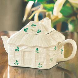 Handcrafted Shamrock Irish Cottage China Teapot