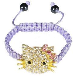 Children's Purple Shamballa Inspired Kitty Cord Bracelet