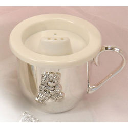 Silver Plated Teddy Bear Sippy Cup