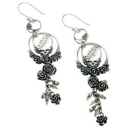 Grateful Dead Steal Your Face Sterling Silver Earrings