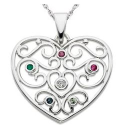 Sterling Silver Filigree Family Birthstone Heart Necklace