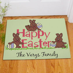 Happy Easter Chocolate Bunnies Personalized Doormat