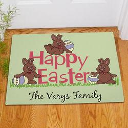 Happy Easter Chocolate Bunnies Personalized Doormat