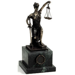 Kneeling Lady Justice Sculpture on Green Marble