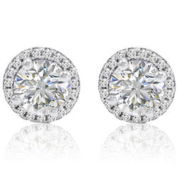 Sterling Silver and Swarovski Zirconia Halo Stud Earrings