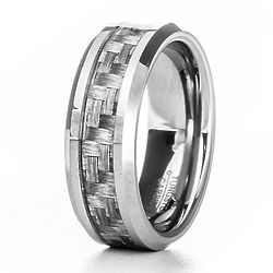 Men's Carbon Fiber Inlay Tungsten Ring
