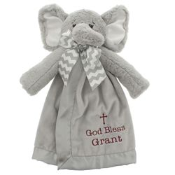 Baby's Personalized God Bless You Elephant Snuggler