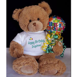 Personalized Happy Birthday Teddy Bear with Balloon