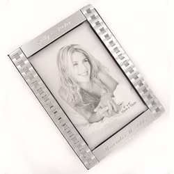 Engraved Accented Matte Silver Photo Album
