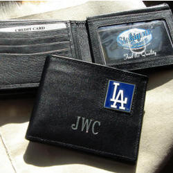 Personalized Black Leather Los Angeles Dodgers Wallet