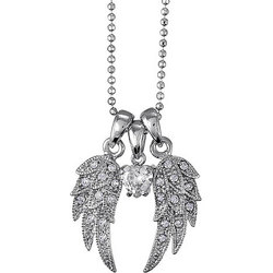 Silver Tone Angel Wings CZ Pendant Necklace