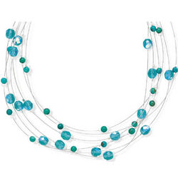 Sterling Silver and Aqua Glass Necklace