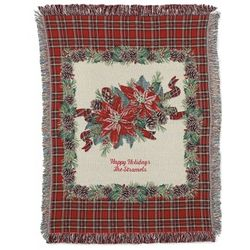 Poinsettia Plaid Blanket