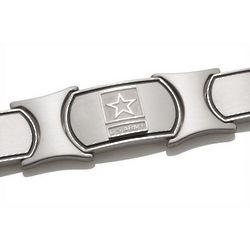 Men's Sterling Silver and Stainless Steel US Army Bracelet