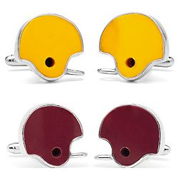 Game-Used College Football Helmet Cufflinks