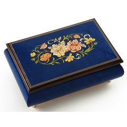 30 Note Dark Blue Floral Musical Jewelry Box