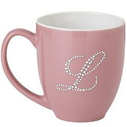 Personalized Pink Jeweled Initial Bistro Mug