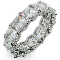 Princess Diana Inspired Baguette Stackable Silver Band