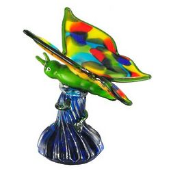 Colorful Blown Glass Butterfly Figurine