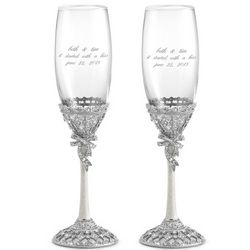 Silver Plated Crystal Engraved Toasting Flutes