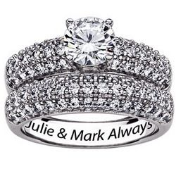 Sterling Silver Engraved 2 Piece Cubic Zirconia Wedding Ring Set