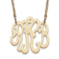 Petite 14 Karat Yellow Gold 3 Initial Monogram Necklace