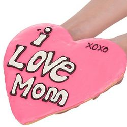 Giant I Love Mom Heart-Shaped Sugar Shortbread Cookie