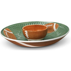 Brown and Green Football Chip and Dip Set