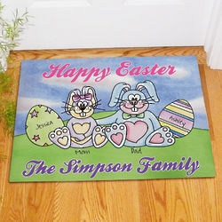 Personalized Easter Bunny and Eggs Family Doormat