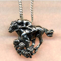Race Horse Sterling Silver Pendant Necklace