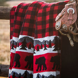 Bear Plaid Throw Blanket