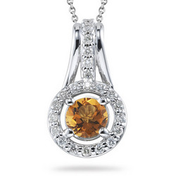 Diamond and Citrine Pendant in 14K White Gold