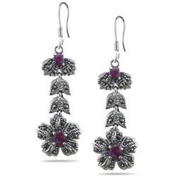 Ruby Marcasite Filigree Flower Dangle Earrings in Silver
