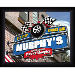 Personalized Pit Stop Sports Bar Sign Framed Print