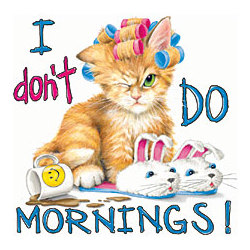 'I Don't Do Mornings' Cat Cotton T-Shirt