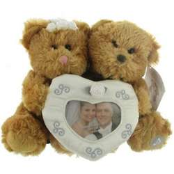 Plush Teddy Bear Bride & Groom Wedding Photo Frame by Russ
