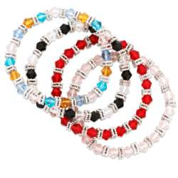 Color Crystal Stretch Bracelet Set