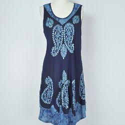 India Batik and Embroidery Mini Dress