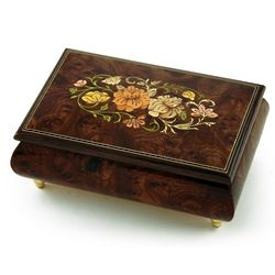 Solid Burl-Elm Floral Inlay Wood Musical Box