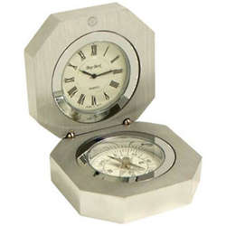 Stainless Steel Clock and Compass
