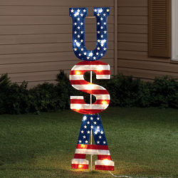 Lighted USA Vertical Stake