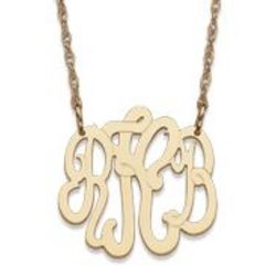 Petite Gold Over Sterling 3 Initial Monogram Necklace