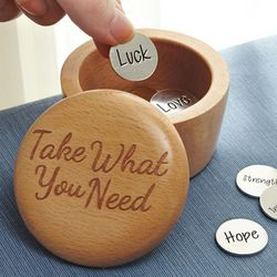 Take What You Need Wooden Box and Charm Coins
