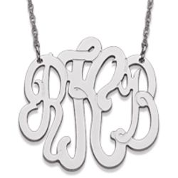 Medium 10 Karat White Gold 3 Initial Monogram Necklace