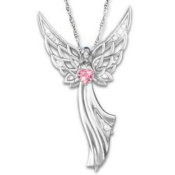 Angel Of Hope Breast Cancer Awareness Crystal Necklace