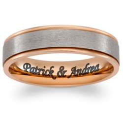 Titanium Two-Tone Rose Gold Engraved Message Band