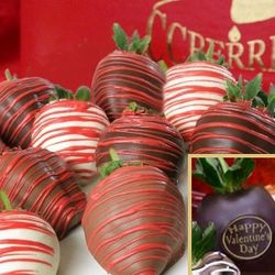 Happy Valentine's Day Chocolate Drizzled Strawberries