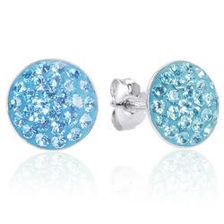 Aqua Blue Swarovski Crystal Stud Earrings in Sterling Silver