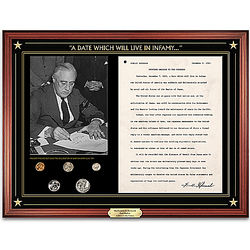 Franklin D. Roosevelt Pearl Harbor Address Wall Plaque with Coins