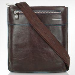 Blue Square Slim Leather Messenger Bag